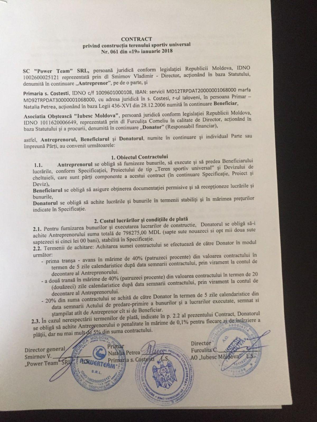 13.09.2019 Contract complex sportiv Costești