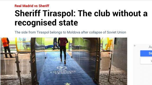 """Revista presei internaționale: Victoria înregistrată de Sheriff Tiraspol, între laude și critici despre """"teritoriul nerecunoscut Transnistria"""""""