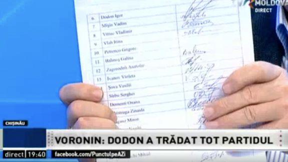"""""""Aceștia sunt Iuda"""". Voronin a arătat un angajament al PCRM în care Dodon, Ivanov, Sîrbu și Greceanîi promiteau că nu vor trăda partidul (VIDEO)"""