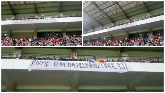 """""""Erdogan, întoarce-ne profesorii"""". Mesajul a apărut pe un banner imens la meciul disputat între Moldova și Turcia (VIDEO)"""