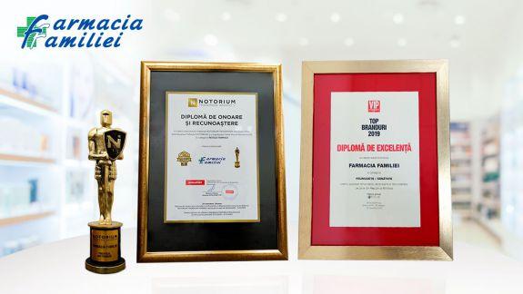 Farmacia Familiei a primit diploma de excelență TOP brands 2019 și trofeul NOTORIUM Awards 2019