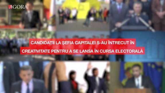 Candidații la șefia capitalei s-au întrecut în creativitate pentru a se lansa în cursă: De pe clădire, lângă un monument sau dintr-un hotel (VIDEO)