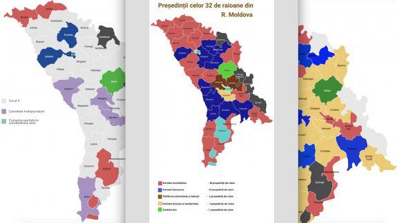 Galbenul a devenit roșu sau albastru: Cum arată harta RM după coloratura politică a președinților de raioane (INFOGRAFIC)