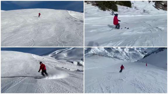 Igor Dodon se odihnește la munte, cu familia. A urcat pe pârtie, la schi (VIDEO)