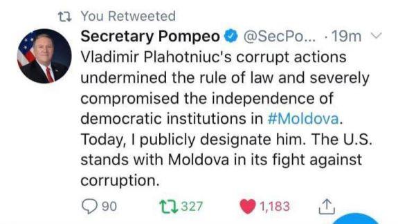 """Politicieni moldoveni reacționează la declarația lui Pompeo despre Plahotniuc: """"Am reușit!"""""""