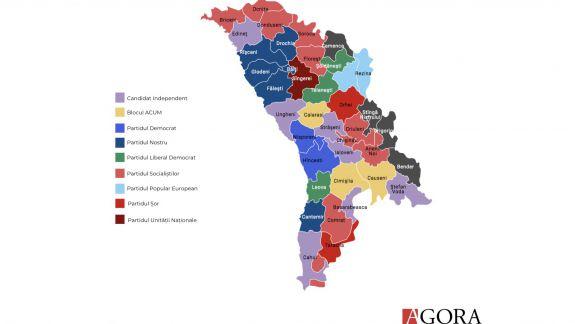TOP-ul partidelor cu cei mai mulți primari de centre raionale: PSRM - 8, PPPN - 5, ACUM - 3 (INFOGRAFIC)